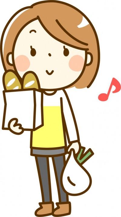 買い物する女の子のイラスト