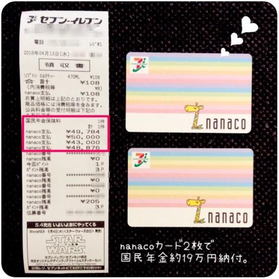 nanaco2枚で20万円の国民年金を支払った時のレシート