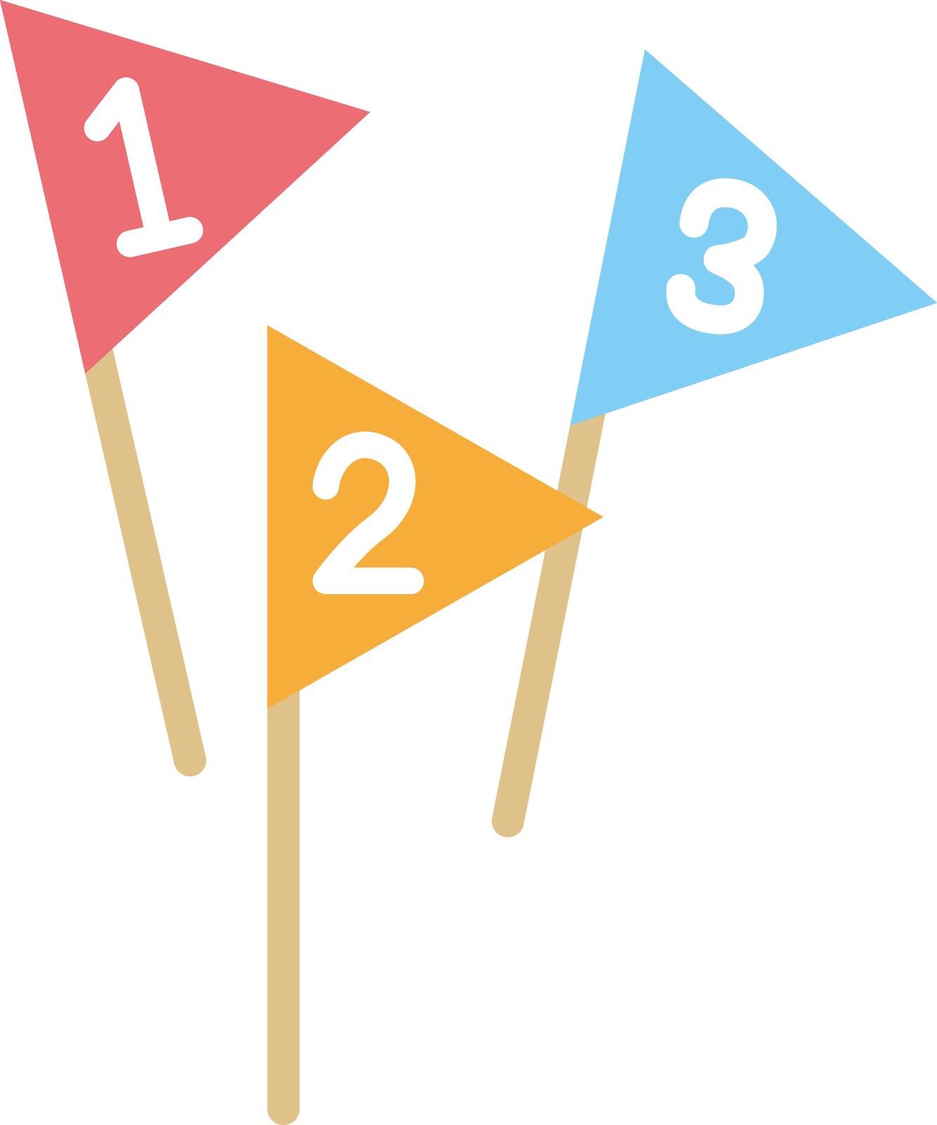 1・2・3と順番に書いてある旗のイラスト