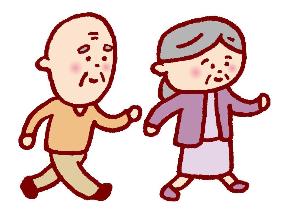 老夫婦が同じ方向を見て歩く姿のイラスト