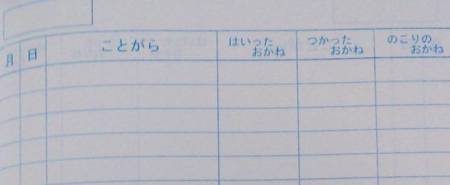 手書き家計簿の見本画像