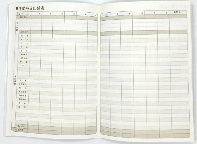 100均セリアの家計簿(年間収支の記録表)画像