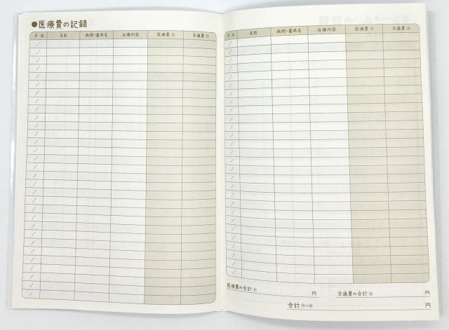 セリア(100円ショップ)の家計簿の医療費の記録ページ画像