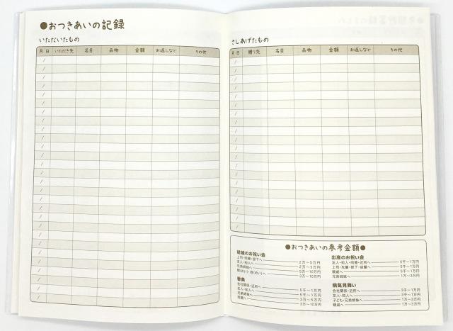 セリア(100円ショップの家計簿)おつきあい記録表の写真画像
