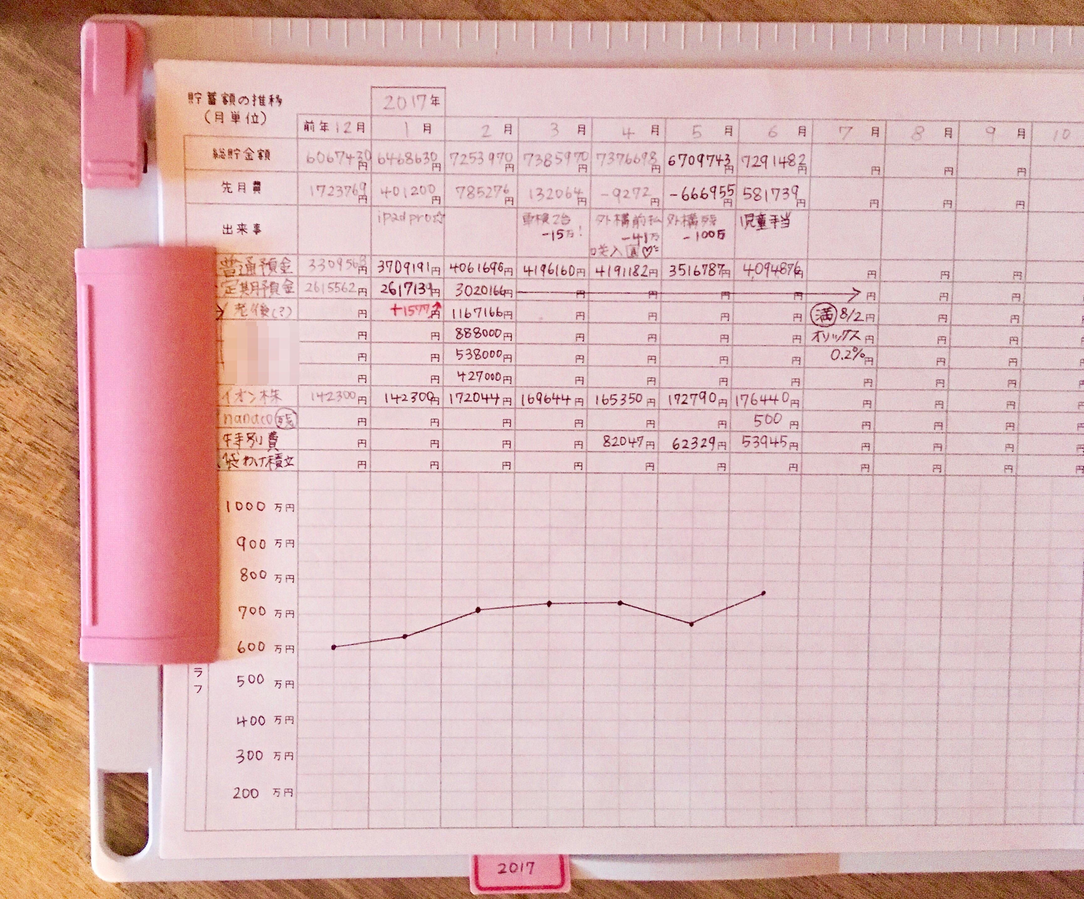 2017年6月我が家の家計簿公開☆モチベーション必須の家計管理は続かない