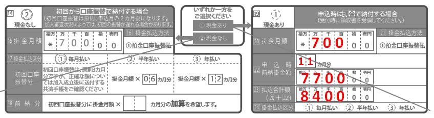 小規模企業共済の契約申込書(現金あり・前納の場合の記入例)