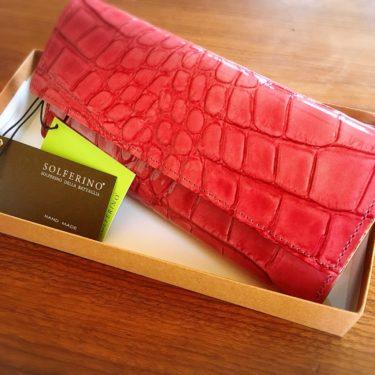 楽天市場で購入した牛革クロコダイル型の長財布(ピンク)の写真画像