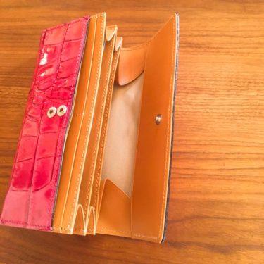 楽天市場で購入した牛革クロコダイル型の長財布(ピンク)の内側写真画像