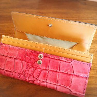楽天市場で購入した牛革クロコダイル型財布の留め具部分写真画像